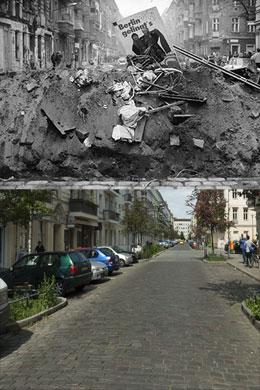 Barrikade in der Mainzer-Strasse am 13.11.1990 - gleicher Blick am 19.5.2012