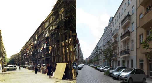 Blick in die Mainzer Strasse - 1.6.1990 und  19.5.2012